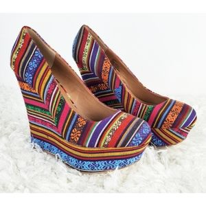 Steve madden pammyy multicolor fabric wedges